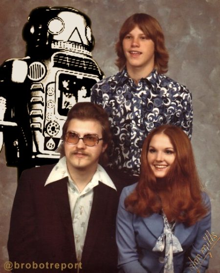 Brobot with foster family before being caught with inhalants and sent to juvie. Photo: clockwise - Brobot, Slow Ricky, Hot Mommy Ricki, Uncle-Papa Ricky